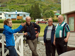 East Iceland Tours. Village Walk in Eskifjörður. Local guide showing guest the village.